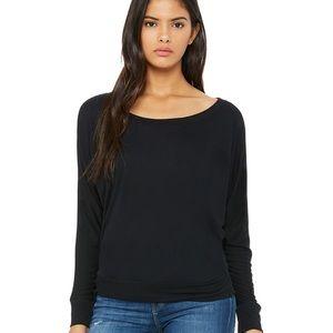 Tops - Flowy Long Sleeve Off Shoulder Pullover